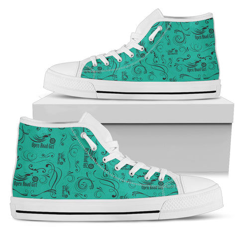 TEAL Solid Scatter Design Open Road Girl White Sole Women's High Top - Jabrichank.com