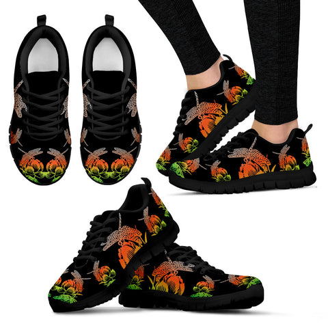 Red and Green Lotus Dragonfly Sneakers. - Jabrichank.com