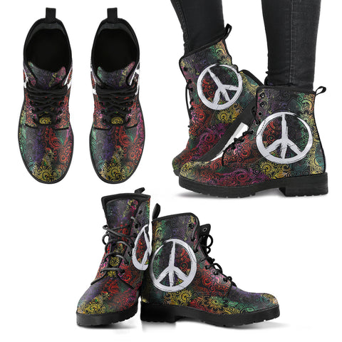 Peace & Colorful Henna Handcrafted Boots - Jabrichank.com