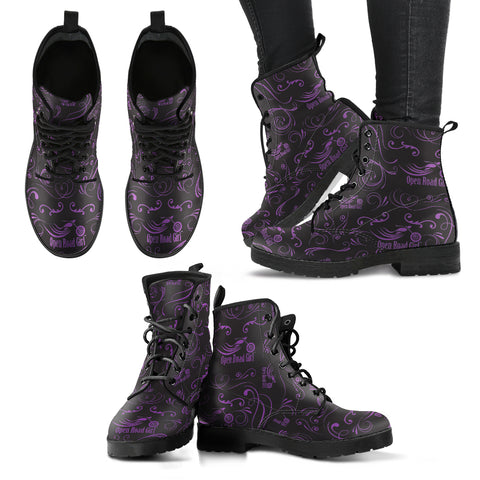 Darker Purple Scatter Open Roads Girl Women's Leather Boots - Jabrichank.com