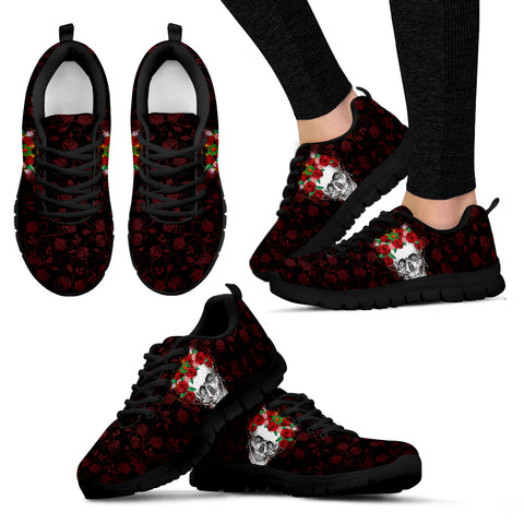 Flower Crown Skull Hand Crafted Sneakers - Jabrichank.com