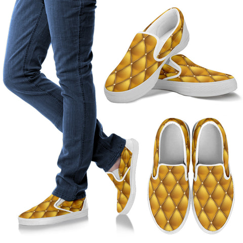 Exclusive Golden Pattern Women's Slip Ons - Jabrichank.com