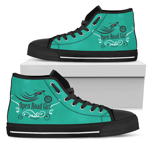 TEAL Swirl Open Road Girl Women's High Top - Jabrichank.com