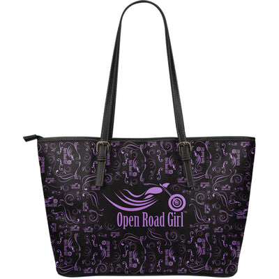PURPLE Scatter Open Road Girl LARGE PU LEATHER Tote - Jabrichank.com