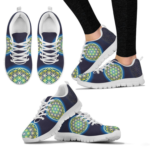 Womens Flower of Life Yellow Sneakers - Jabrichank.com