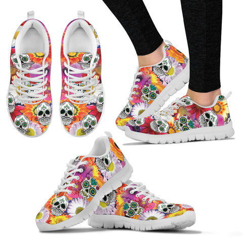 Flowers and Skulls Hand Crafted Sneakers - Jabrichank.com