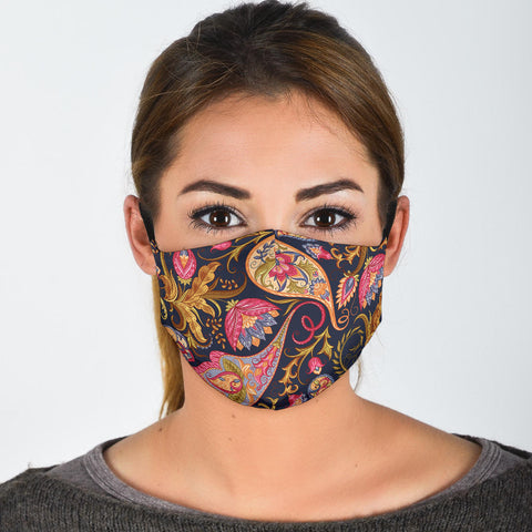 Dark Blue & Pink Paisley Pattern Protection Face Mask - Jabrichank.com