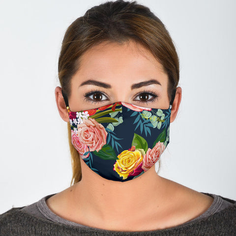 Classic Roses Deep Blue Art Protection Face Mask - Jabrichank.com