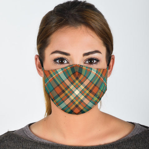 Classic Luxury Design Orange & Green Protection Face Mask - Jabrichank.com