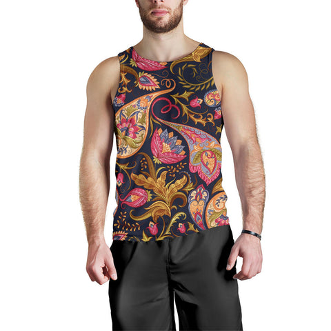Dark Blue Paisley Men's Tank Top - Jabrichank.com