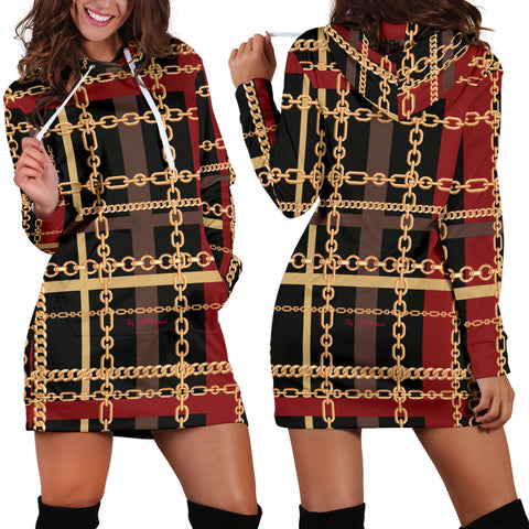 Dark Style Gold Chains Design Women's Hoodie Dress - Jabrichank.com