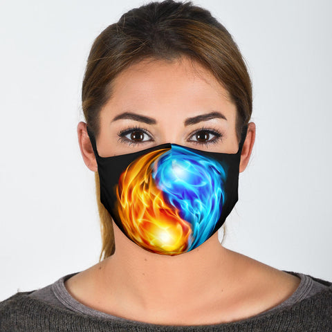 Fire And Water Style Jin Jang Symbol Design Protection Face Mask - Jabrichank.com