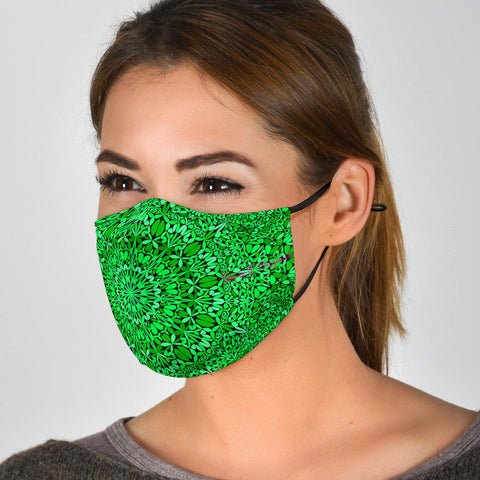 Cool Green Mandala Design Protection Face Mask - Jabrichank.com