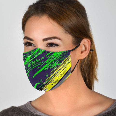 Classic Racing Design Deep Blue & Neon Green Protection Face Mask - Jabrichank.com