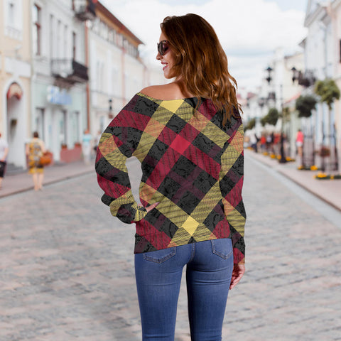Exclusive Tartan Women's Off Shoulder Sweater - Jabrichank.com