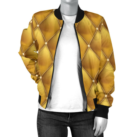 Exclusive Golden Pattern Women's Bomber Jacket - Jabrichank.com