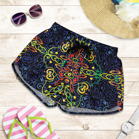 Glowing Rasta Mandala Women's Shorts - Jabrichank.com