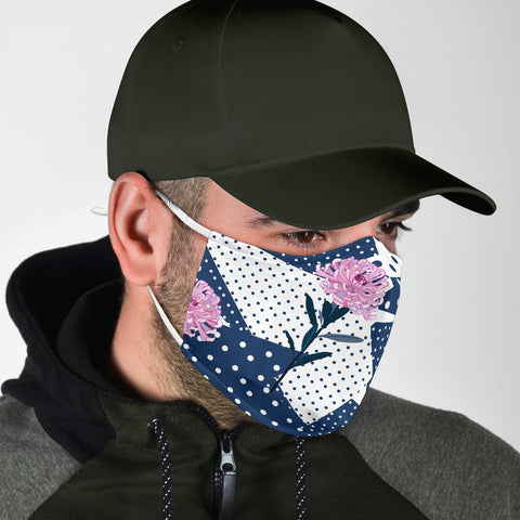 Dots Style With Pink Flowers Protection Face Mask - Jabrichank.com