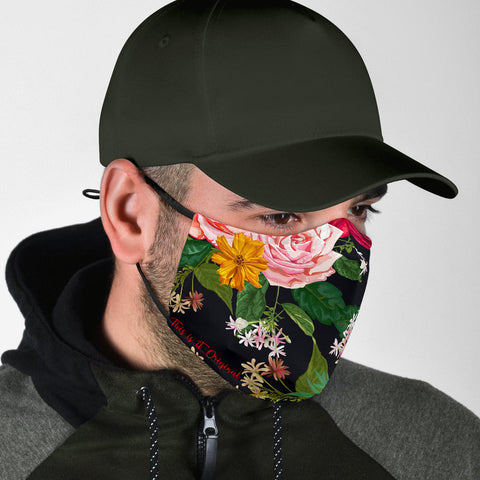 Classic Roses Black Art Protection Face Mask - Jabrichank.com