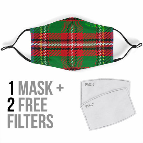 Classic Scottish Tartan Green & Red Protection Face Mask - Jabrichank.com
