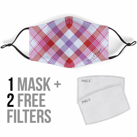 Classic Luxury Tartan Design Pink & White Protection Face Mask - Jabrichank.com