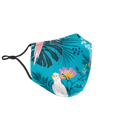Exotic Birds With Tropical Flowers Vibe Protection Face Mask - Jabrichank.com