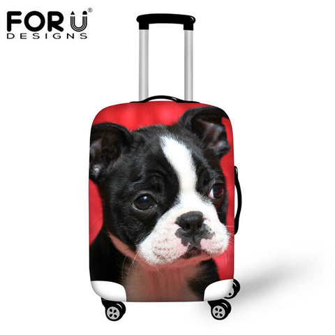 FORUDESIGNS Elastic Waterproof Suitcase Cover 3D Boston Terrier Dog Women Travel Luggage Protective Covers For 18-30 Inch Cases