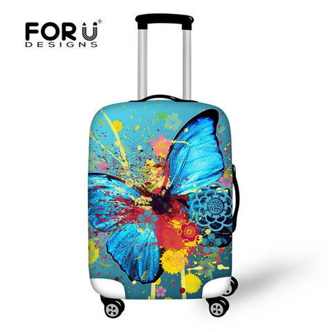 FORUDESIGNS Elastic Travel Luggage Suitcase Protective Cover To 18-30 Inch Trunk Case 3D Butterfly Waterproof Dust Trolley Cover