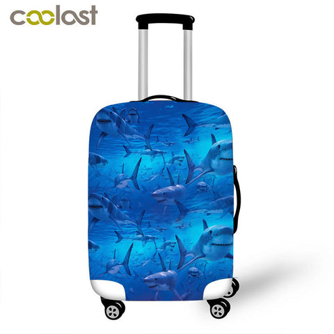 Cute Luggage Protective Elastic Protective Covers Suitcase Camera Pouch with Rain Shark Trolley Case Cover for 18-28