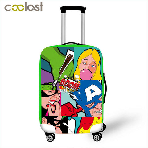 HOT cool sexy Girl luggage covers spoof anime women travel suitcase coverset printed elastic luggage bag protector