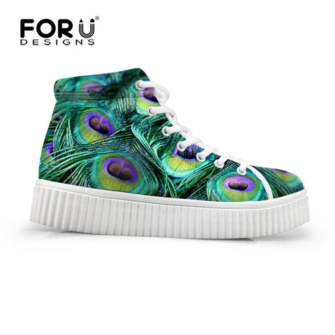 FORUDESIGNS Fashion Peacock Feather Design Women's Autumn Shoes Classic High Top Lace-up Shoes Woman Flats Platform Female Shoe