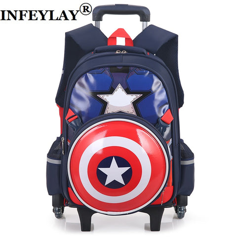 HOT Climb the stairs Captain America luggage 3D child cartoon school bag students rolling suitcase Children travel backpack gift