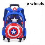 HOT Climb the stairs Captain America luggage 3D child cartoon school bag students rolling suitcase Children travel backpack gift - Jabrichank.com