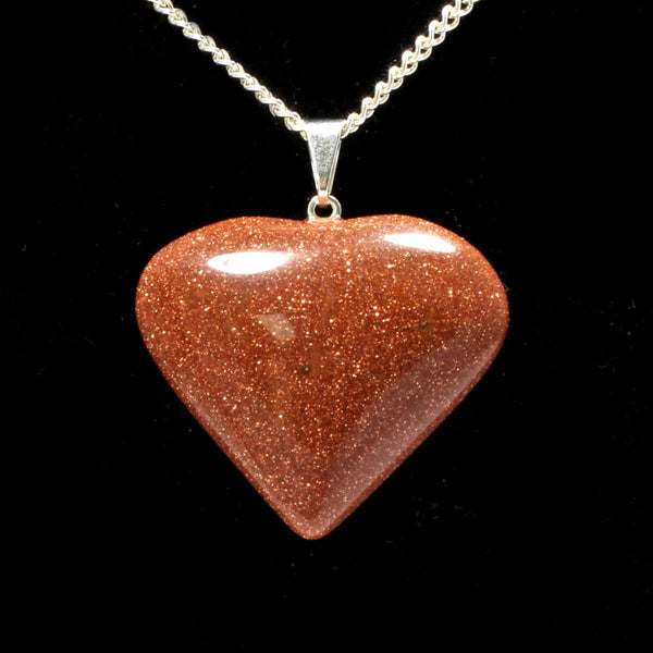 Red Goldstone Heart Pendant with Chain