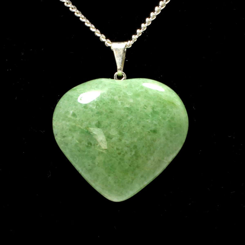 Green Aventurine Heart Pendant with Chain