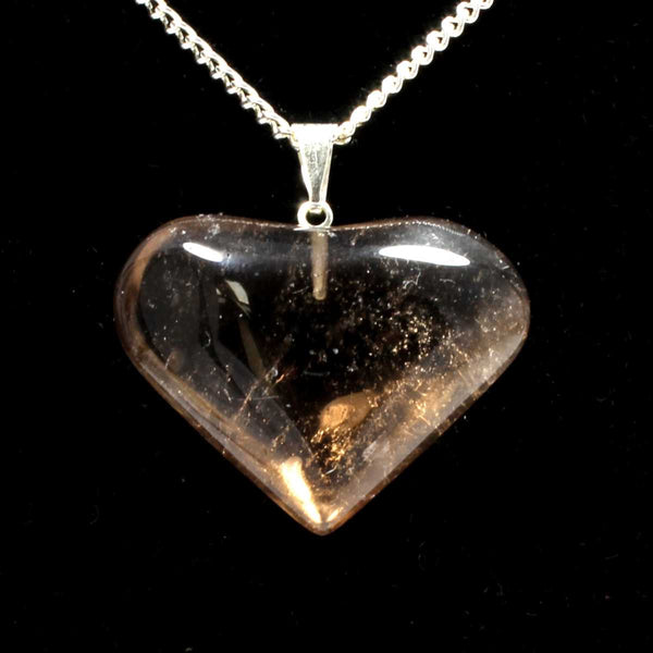 Smokey Quartz Heart Pendant with Chain