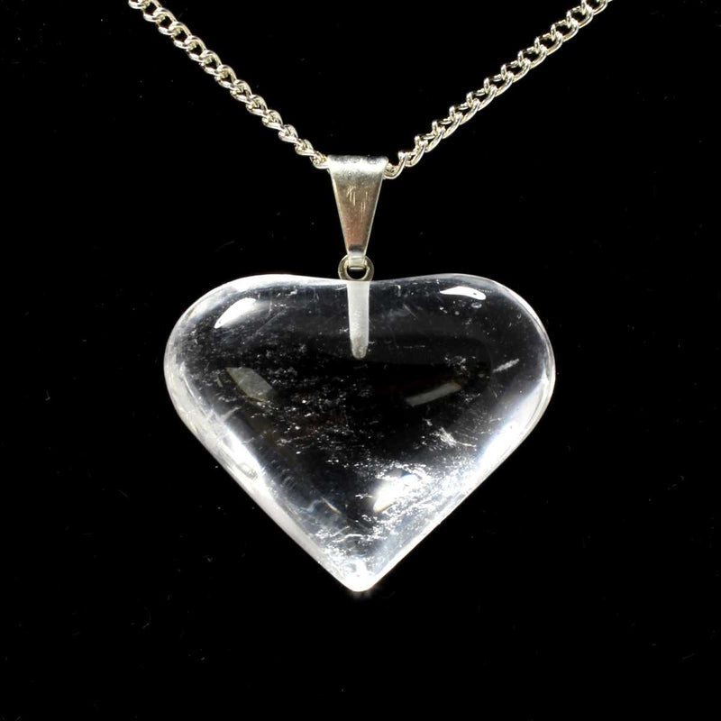 Clear Quartz Heart Pendant (Medium) with Chain