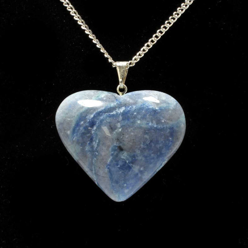 Blue Quartz Heart Pendant with Chain