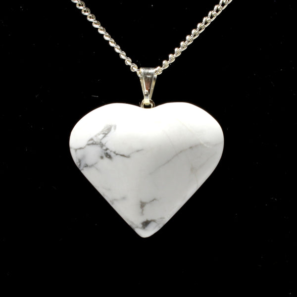 White Howlite Heart Pendant with Chain