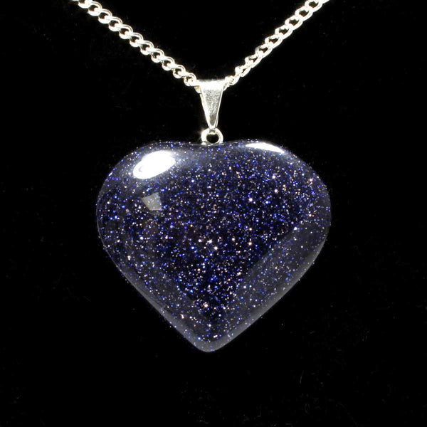 Blue Goldstone Heart Pendant with Chain