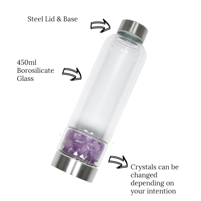 Glass Crystal Water Bottle - Amethyst for Trust and Clarity
