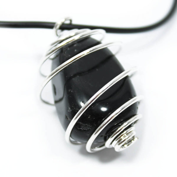 Black Obsidian Wire Wrapped Necklace