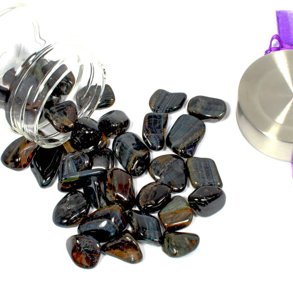 Crystal Water Bottle Pack - Blue Tigers Eye for Calm and Focus