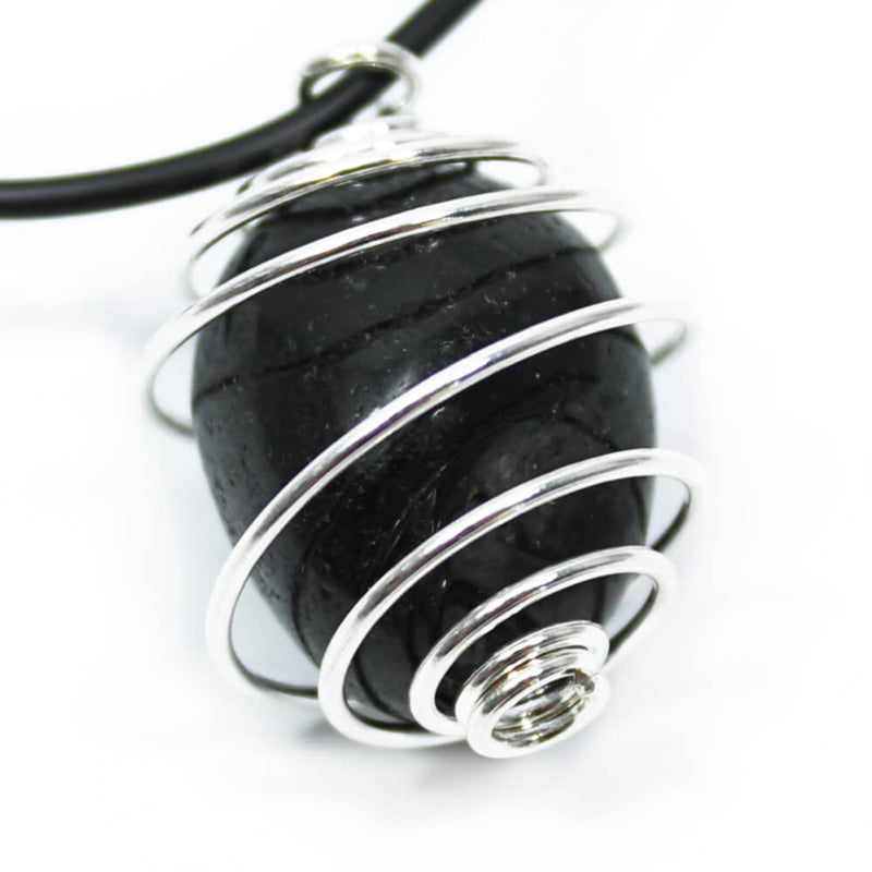 Black Tourmaline Wire Wrapped Necklace