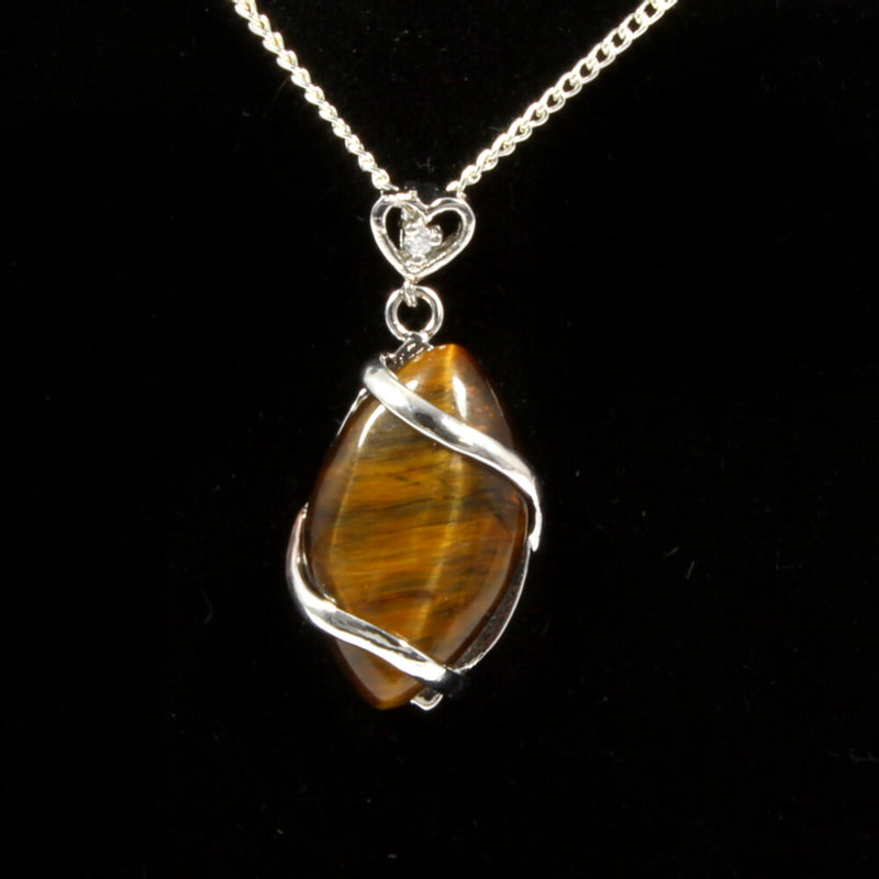 Gold Tigers Eye Heart & Oval Pendant