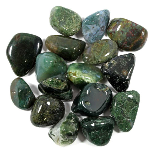 Agate Polished Tumblestone - Moss Agate Healing Crystals