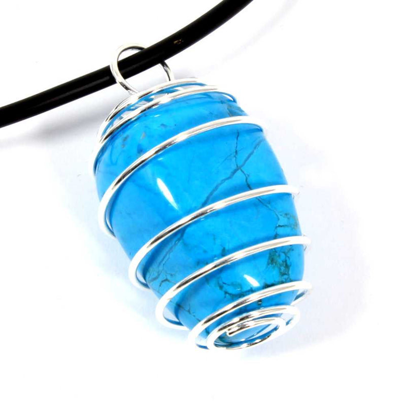 Blue Howlite Wire Wrapped Necklace