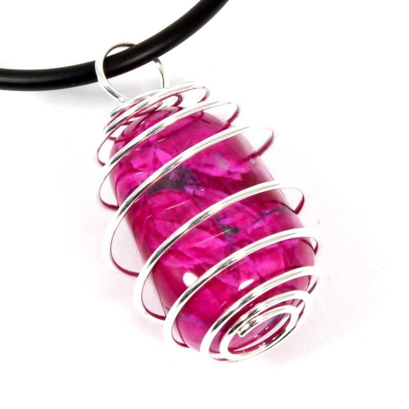Pink Howlite Wire Wrapped Necklace