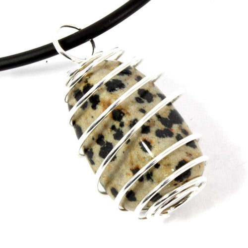 Dalmatian Jasper Wire Wrapped Necklace