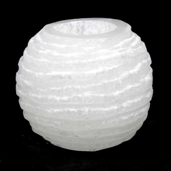 Selenite Snowball Tea Light Lamp